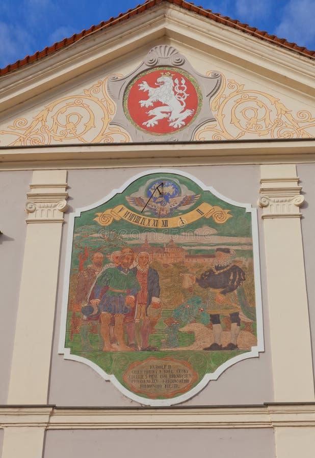 Tsjechische zonnewijzer van Oud Stadhuis in Brandys-nad Labem, royalty-vrije stock foto