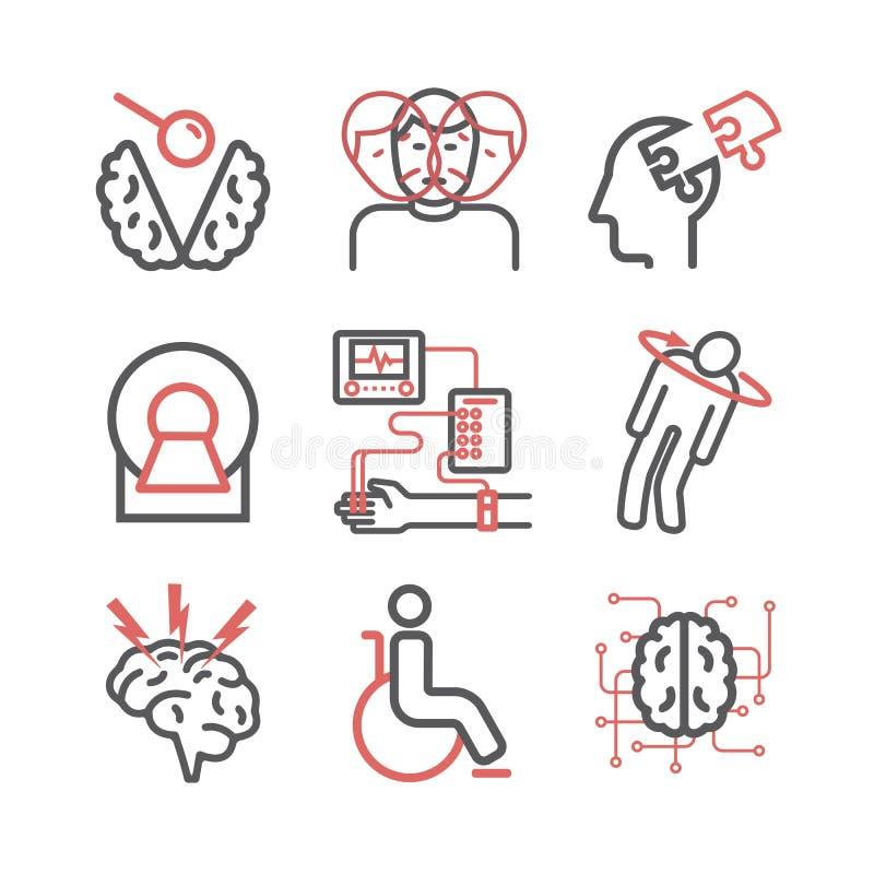?tskillig sclerosis Tecken orsaker, behandling Linje symbolsupps?ttning Vektortecken f?r reng?ringsdukdiagram stock illustrationer