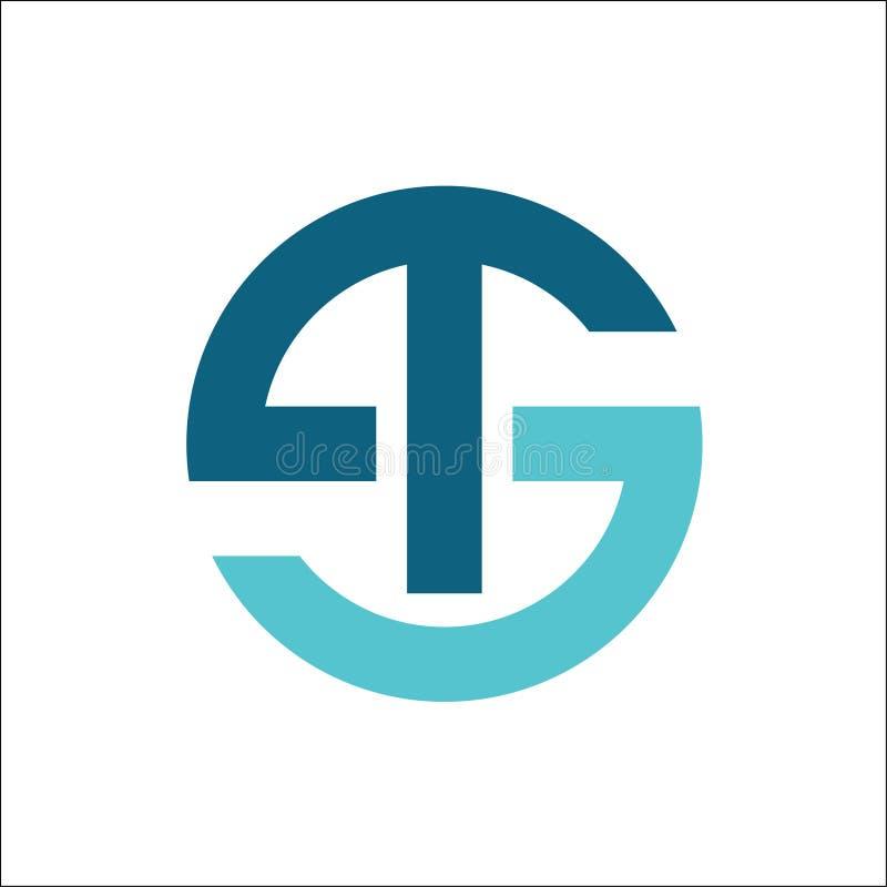 TSlogoen märker med sina initialer cirkeln royaltyfri illustrationer