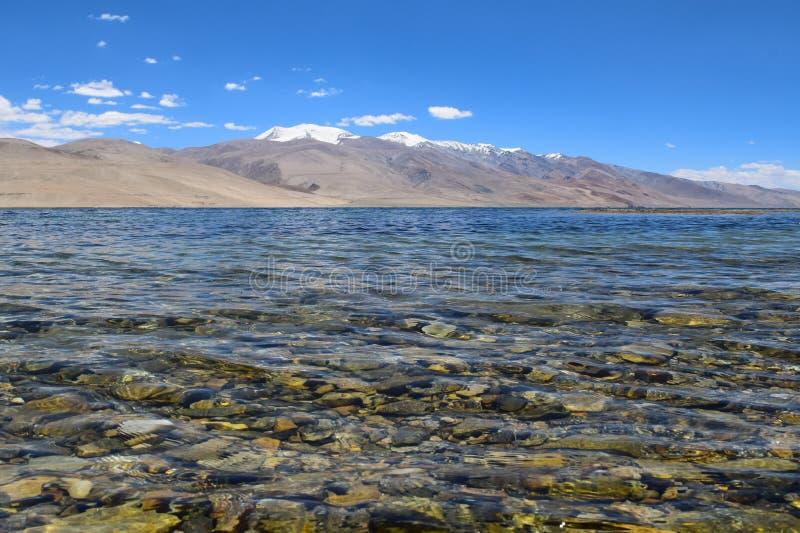 Tso moriri lake in ladakh region of Jammu and Kashmir. Tso Moriri or Lake Moriri is a mountain lake in the Ladakhi part of the Changthang Plateau in Jammu and stock photos