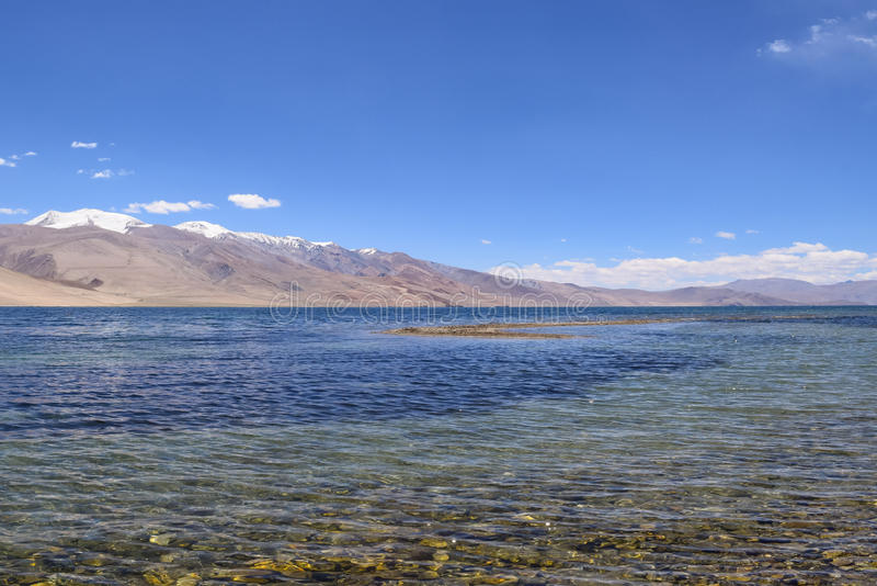 Himalayan mountain Tso moriri lake in ladakh region of Jammu and Kashmir. Tso Moriri or Lake Moriri is a mountain lake in the Ladakhi part of the Changthang royalty free stock image