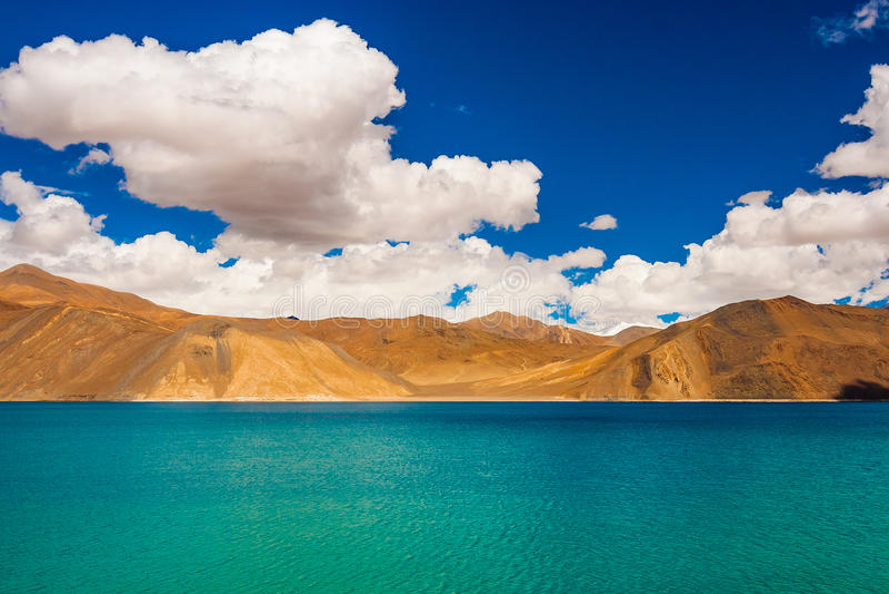 Tso Pangong, красивое гималайское озеро, Ladakh, северная Индия стоковая фотография rf