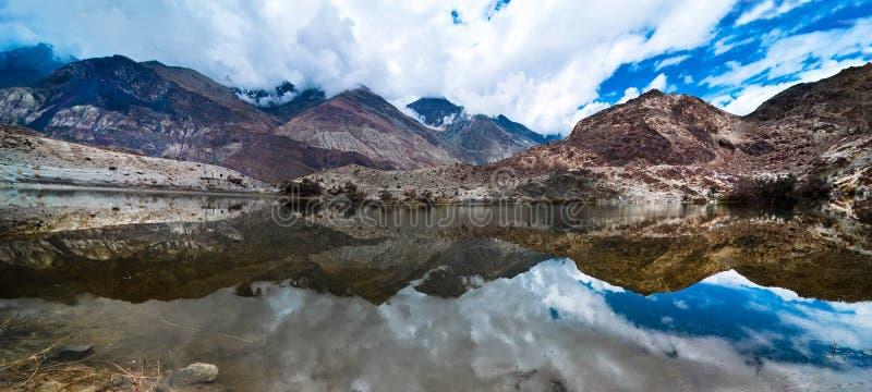 Tso Yarab lake. India, Ladakh. Buddhist Sacred Tso Yarab Lake. Himalaya mountains range. India, Ladakh, near Panamik, Sumur village, altitude 3300 m. Three royalty free stock photos
