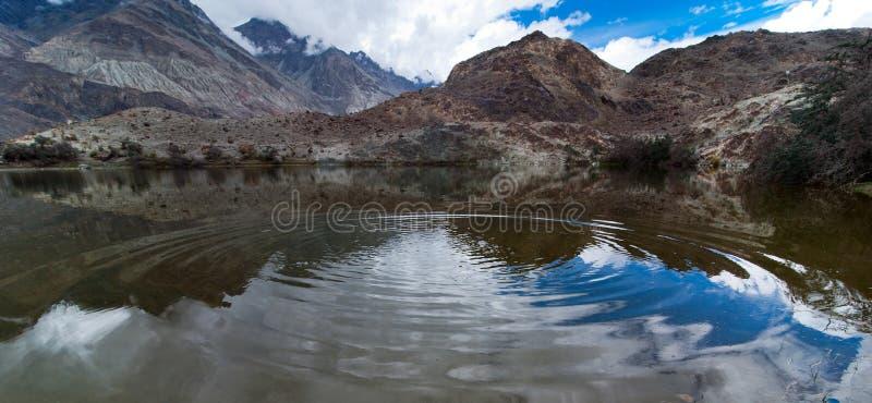 Tso Yarab lake. India, Ladakh. Hidden Buddhist Sacred Tso Yarab Lake. Himalaya mountains range. India, Ladakh, near Panamik, Sumur village, altitude 3300 m royalty free stock photo