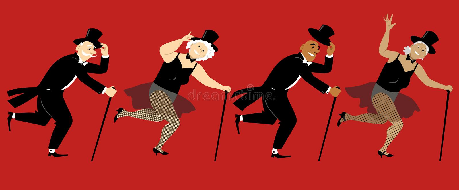 Tsp dancing seniors. Senior people dressed in stage costumes, in top hats and with canes tap dancing, EPS 8 vector illustration vector illustration