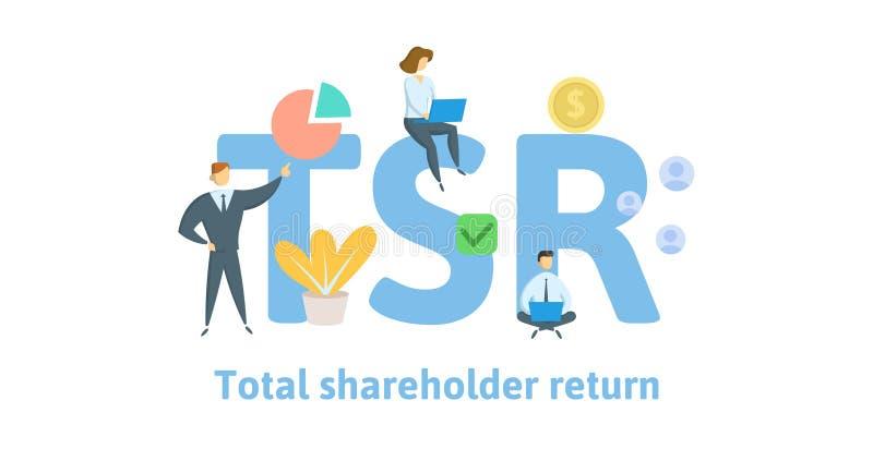 TSR, полное возвращение акционера Концепция с ключевыми словами, письмами и значками Плоская иллюстрация вектора Изолировано на б иллюстрация штока