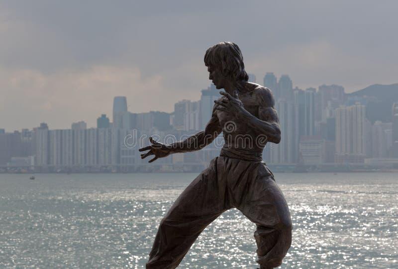 tsui för tsim för staty för bruce Hong Kong leesha royaltyfria bilder