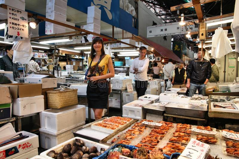 Tsukiji fiskmarknad arkivfoto