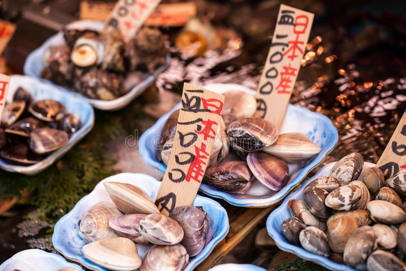 Tsukiji fiskmarknad i Japan royaltyfri fotografi