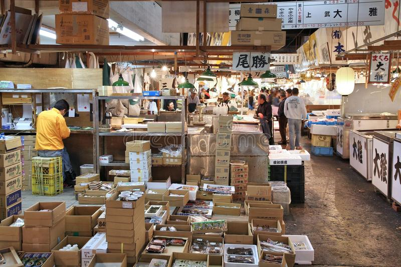 Tsukiji marknad royaltyfria foton
