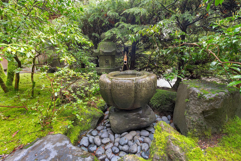 Gentil Download Tsukubai Water Fountain At Japanese Garden Stock Image   Image Of  Garden, Stone: