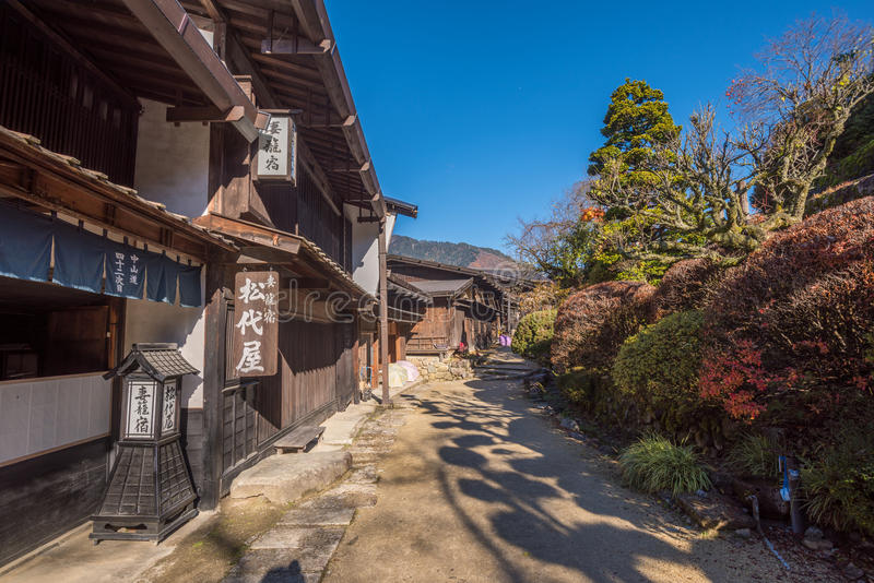 Tsumago, sceniczny tradycyjny poczta miasteczko w Japonia fotografia royalty free