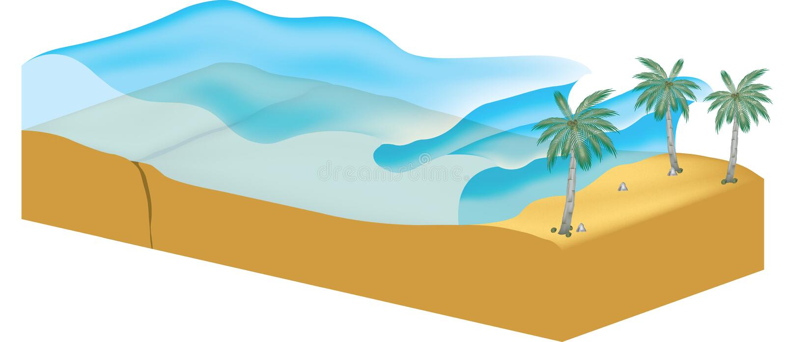 Tsunami. Illustration with waves coming to shore from ocean vector illustration