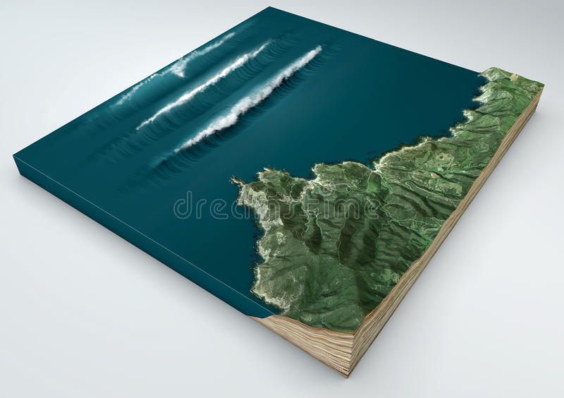 Tsunami, abnormal wave, wave formation. 3d split of a ground section under the effect of a tsunami in the ocean knocking on the co stock photo