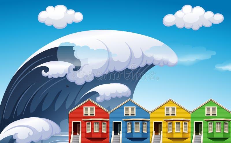Tsunami with big waves over houses. Illustration royalty free illustration