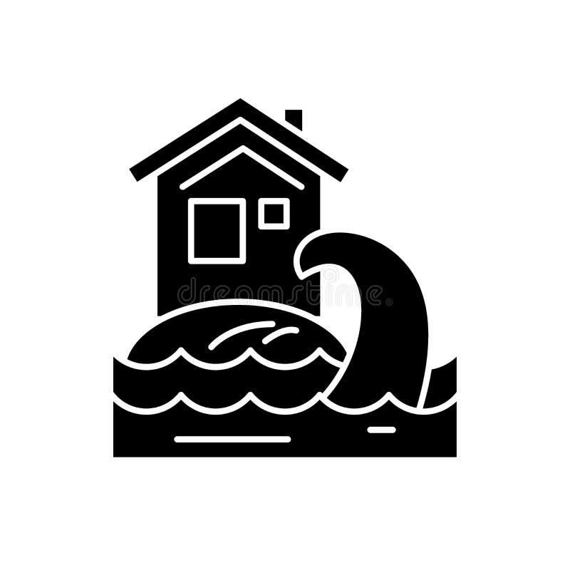 Tsunami czarna ikona, wektoru znak na odosobnionym tle Tsunami pojęcia symbol, ilustracja ilustracji