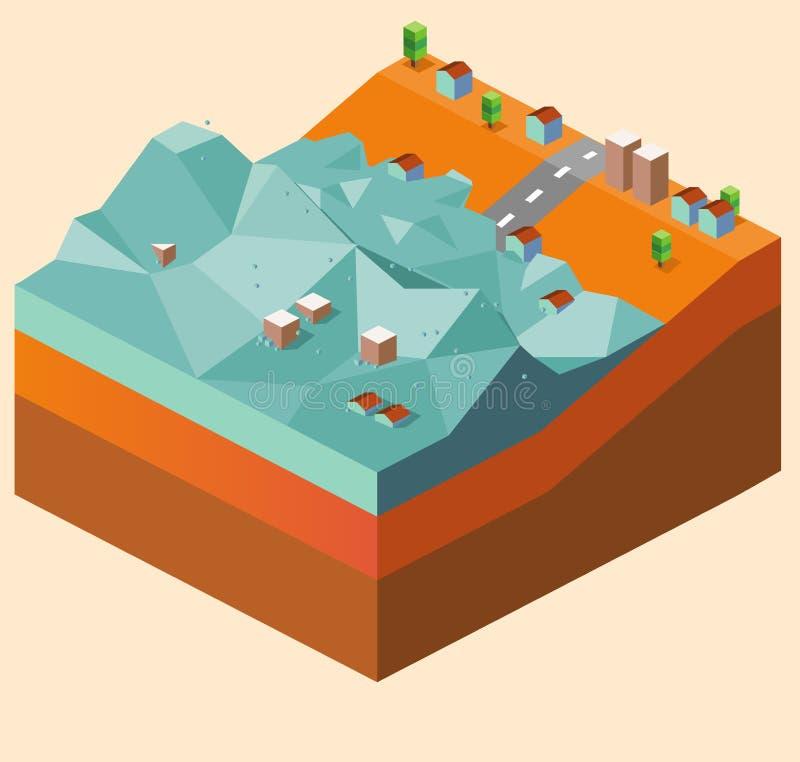 Tsunami da inundação ilustração royalty free