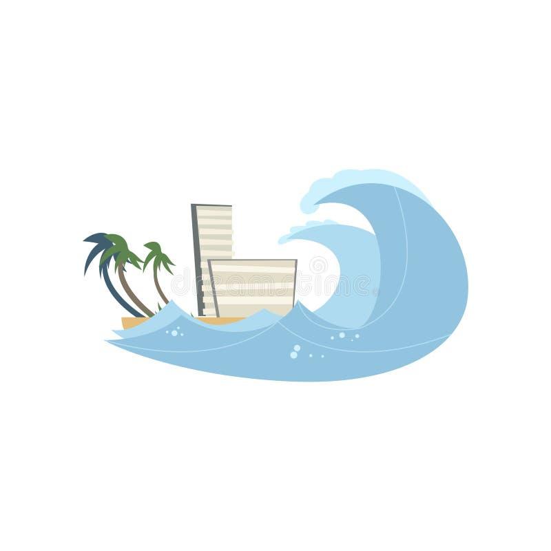 Tsunami de la devastación en la costa aislada en el fondo blanco libre illustration