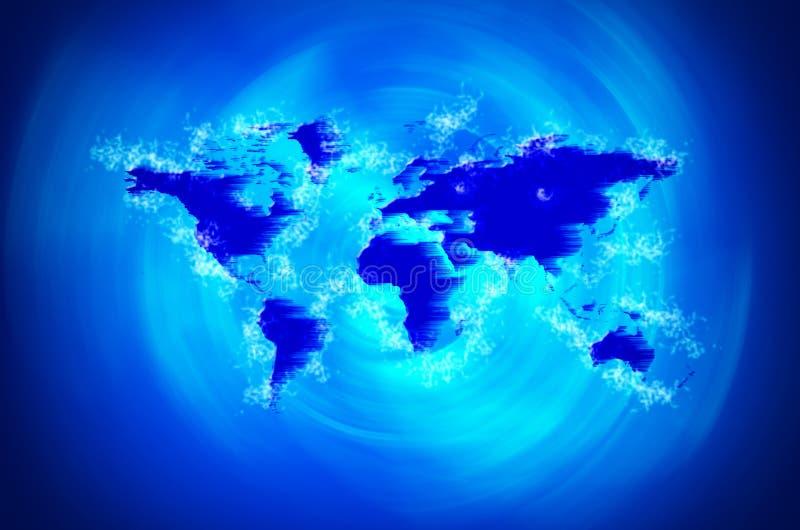Tsunami do mapa do mundo ilustração do vetor