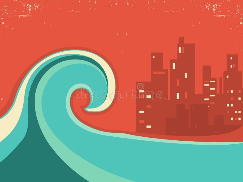 Tsunami e cidade grande na noite Cartaz enorme da onda ilustração royalty free