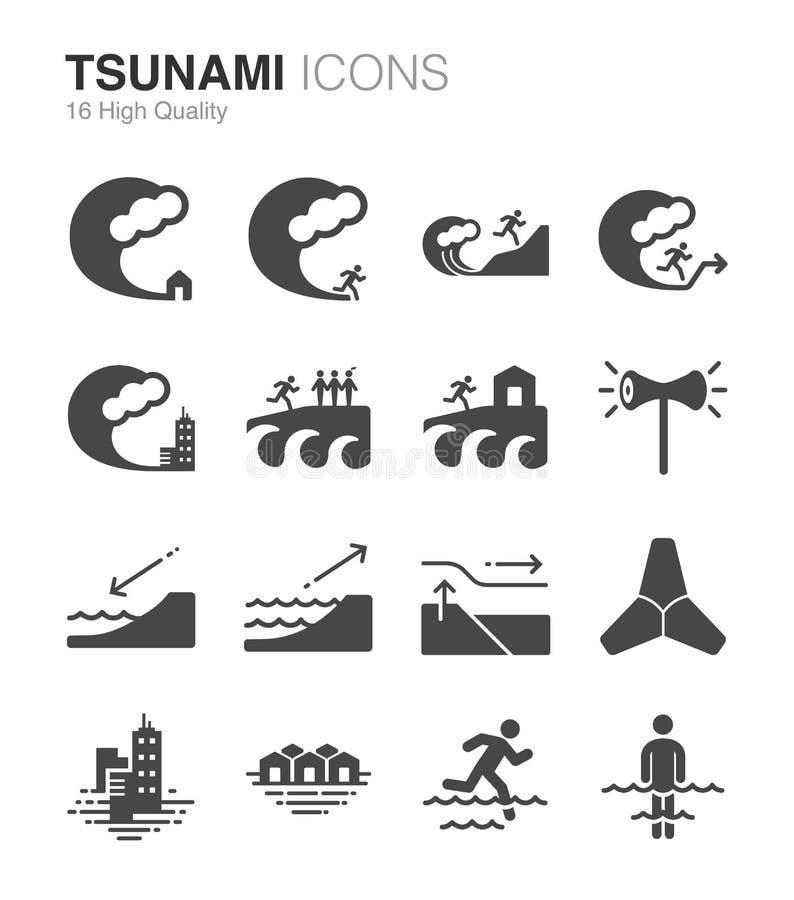 Tsunami e inundación stock de ilustración