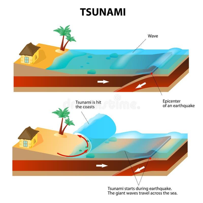 Tsunami en Aardbeving. Vectorillustratie royalty-vrije illustratie