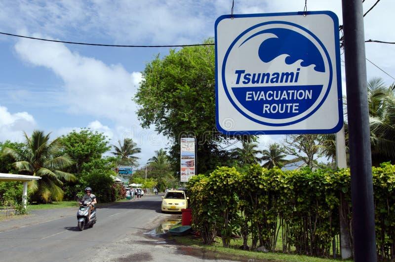 Tsunami evacuation route in Rarotonga Cook Islands. RAROTONGA - SEP 16:Tsunami evacuation route sign on Sep 16 2013.Cook Islands are in danger of earthquake stock photo