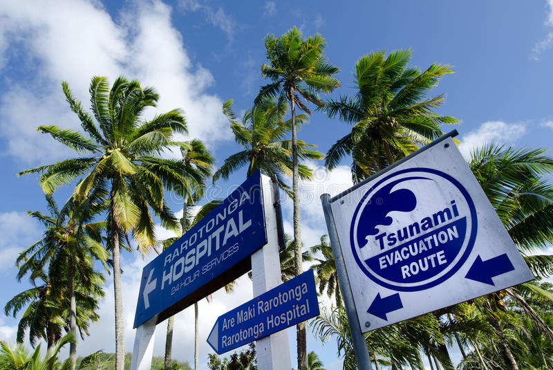 Tsunami evacuation route in Rarotonga Cook Islands. RAROTONGA - SEP 21:Tsunami evacuation route sign on Sep 21 2013.Cook Islands are in danger of earthquake stock photo