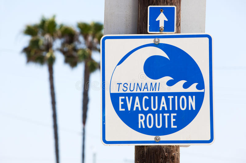 Tsunami Evacuation Route Sign. A Tsunami Evacuation Route sign posted at a Southern California beach with palm trees in the background royalty free stock images