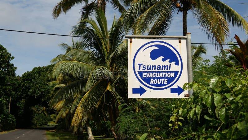 Tsunami evacuation route sign. At Rarotonga, Cook Islands royalty free stock photo