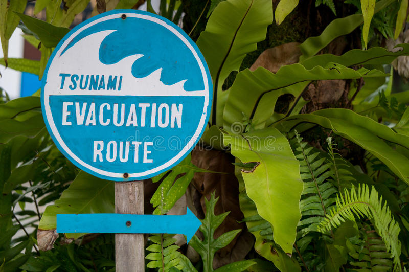 Tsunami evacuation route. Sign in Thailand stock images