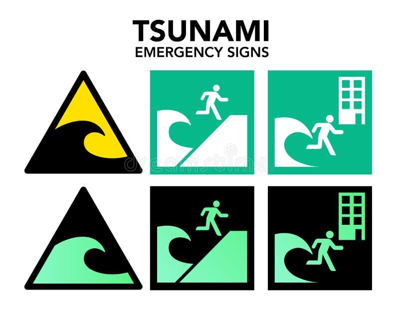 tsunami evacuation signs stock vector illustration of