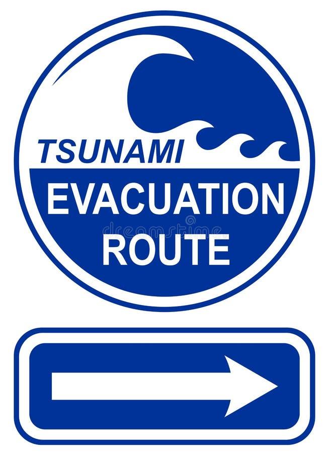 Tsunami för evakueringsroutetecken
