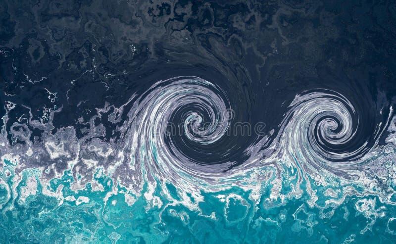 Tsunami fale Wodny przypływu abstrakta tło Błękitne wody tło z pluśnięciami fale zdjęcia stock