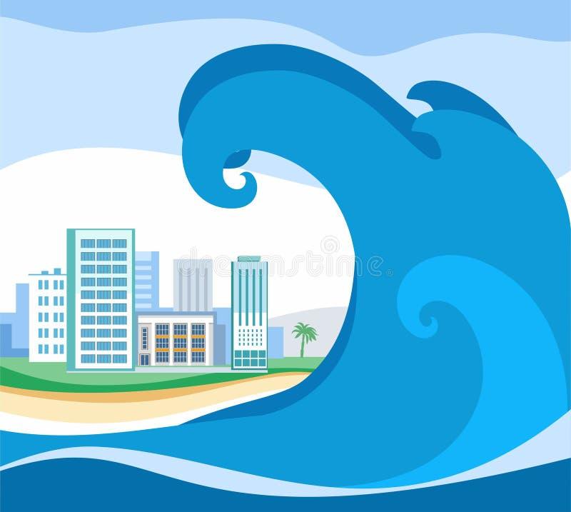 Tsunami, farbiges Bild, Vektor lizenzfreie abbildung