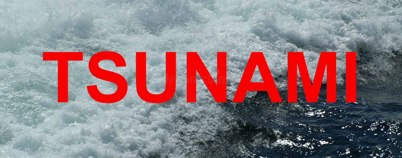 Tsunami, golf, seismische overzeese golf, stock afbeeldingen