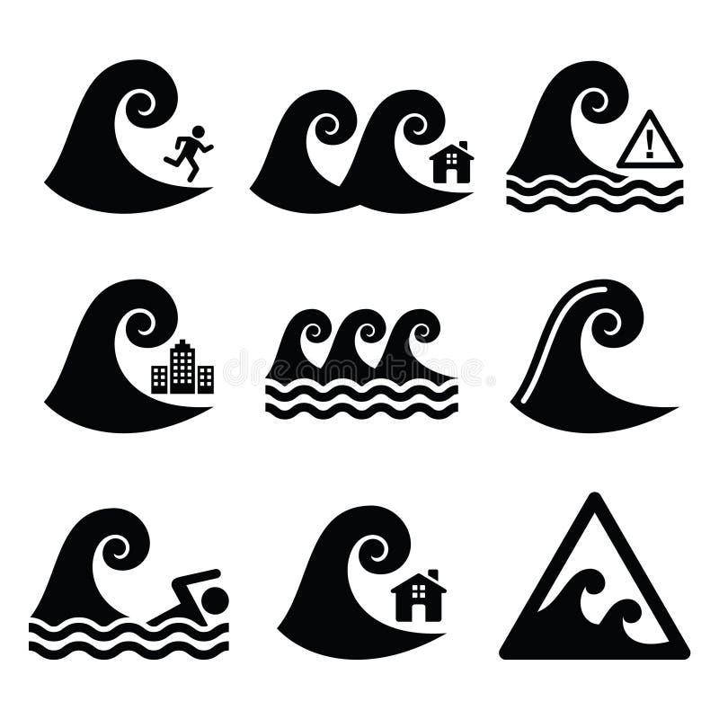 Tsunami, grote golfwaarschuwing, neutrale geplaatste rampenpictogrammen vector illustratie
