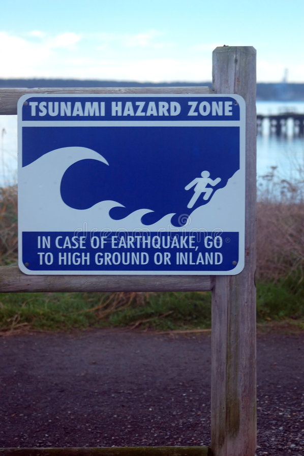 Tsunami hazard zone sign stock image