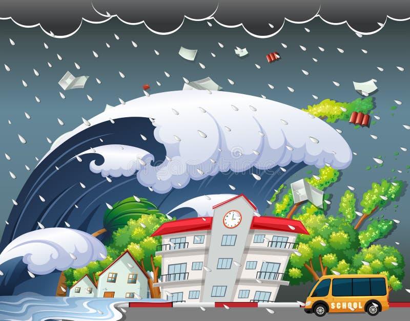 Tsunami hit school building. Illustration royalty free illustration