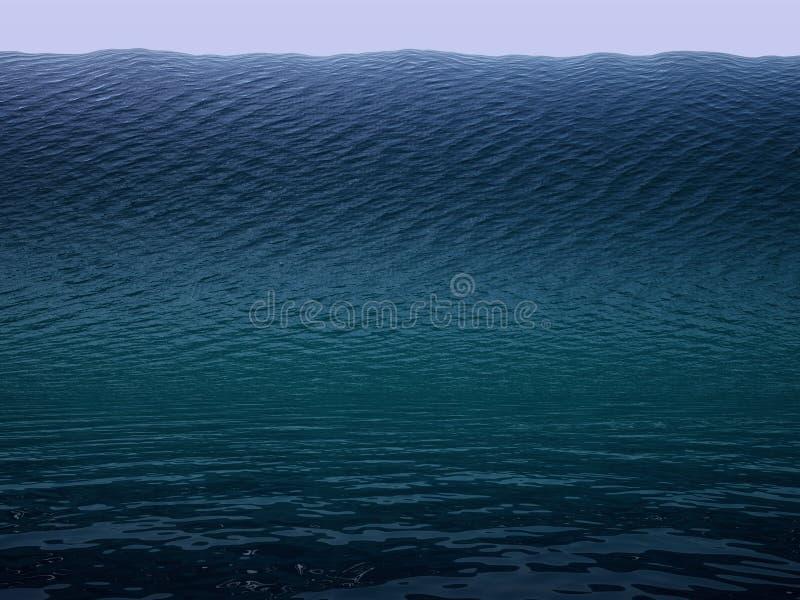 Tsunami. Huge wave in ocean royalty free illustration