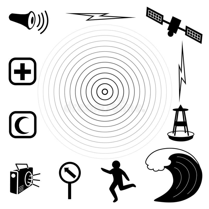 Tsunami Icons. Earthquake epicenter with concentric circles, ocean waves, siren, radio, emergency aid services, tsunami detection buoy, satellite & royalty free illustration