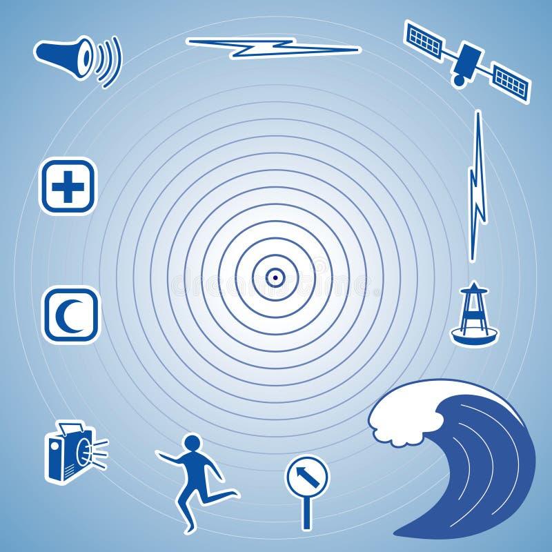 Tsunami Icons. Symbols for tsunami: epicenter, giant ocean tidal wave, siren, radio, cross and crescent emergency aid icons, tsunami detection buoy, satellite royalty free illustration