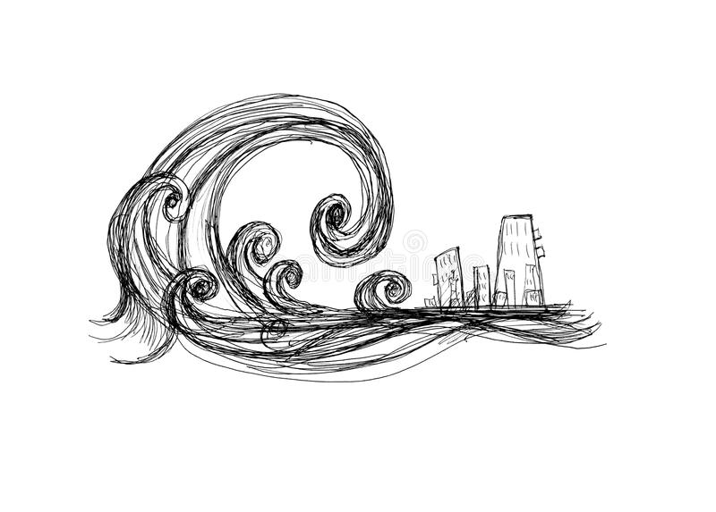 Tsunami. Impending tsunami of the city, black and white drawing royalty free illustration