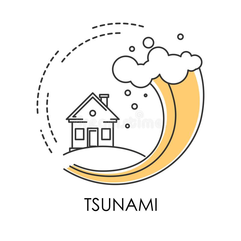 Flood tsunami stock illustration. Illustration of house ...