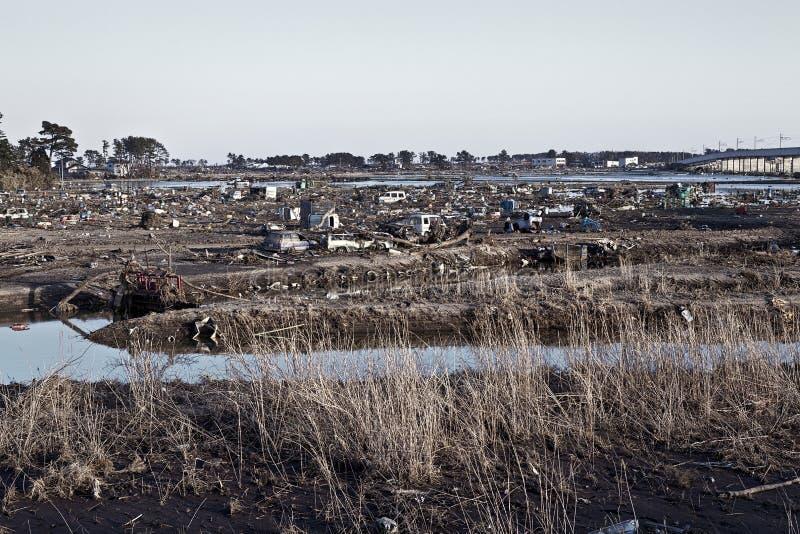 Tsunami japão fukushima 2011 foto de stock royalty free