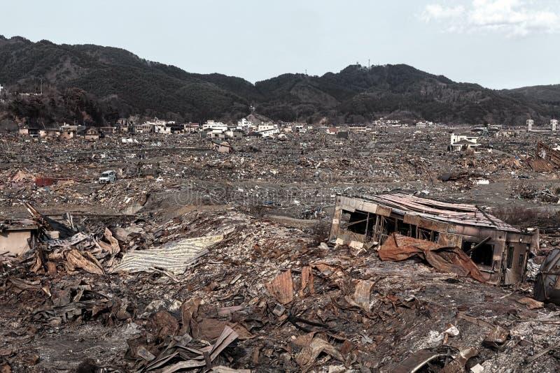 Tsunami Japan 2011 Fukushima stock afbeelding