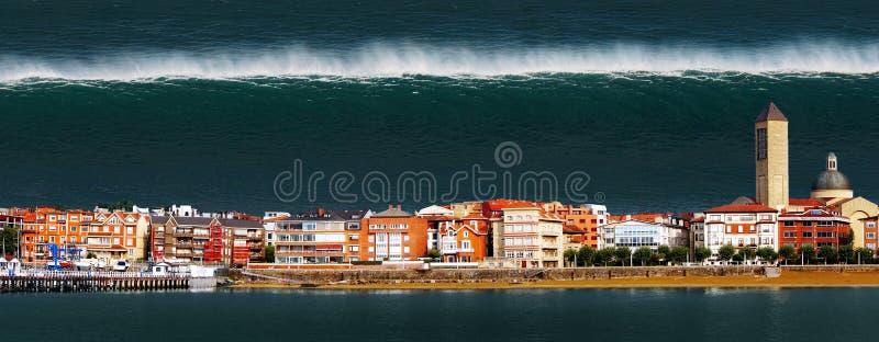 Tsunami mit einer großen Welle, die eine Stadt zerstört stockfotografie