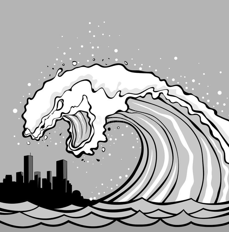 Tsunami monster. Huge wave of tsunami overflows coast. City in danger royalty free illustration