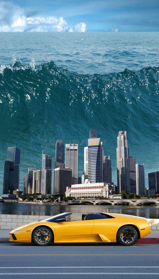 Tsunami no Pacífico   fotografia de stock