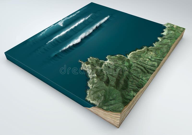 Tsunami, onda anormal, formación de la onda fractura 3d de una sección de tierra bajo efecto de un tsunami en el océano que golpe foto de archivo